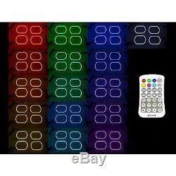 07-14 Chevy Silverado Multi-Color Changing LED Headlight Fog Light Halo Ring Set