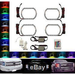 07-14 Chevy Silverado Multi-Color Changing Shift LED RGB Headlight Halo Ring Set