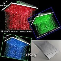 12 Square Temperature Sensor Changing Color LED Showerhead, Polished Chrome