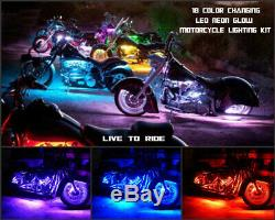 18 Color Change Led Wireless Remote Indian Motorcycle 12pc Led Neon Light Kit