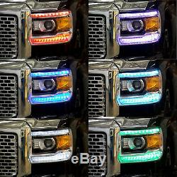 2014-2015 GMC Sierra RGBW LED Multi-Color Changing Headlight DRL Accent Bars Set