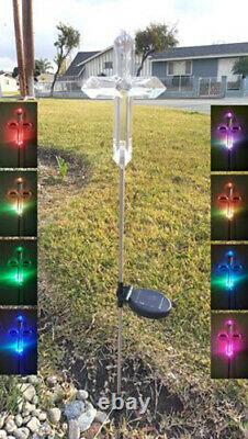 2X Solar Powered Big Cross Landscape Garden Stake Color Changing LED Light