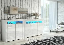 2 X WHITE Gloss Sideboard Cabinet Cupboard Display Storage Blue LED Light LILY