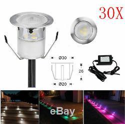 30Pcs 30mm 12V IP67 RGB Colour Changing LED Deck Lights Kitchen/Garden Lighting