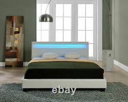 3FT SINGLE BED WHITE DESIGNER FAUX LEATHER LED COLOUR CHANGING Free UK Delivery