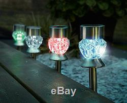 3 x Solar Light Colour-Changing Solar LED Lights Patio Garden Flower bed NEW
