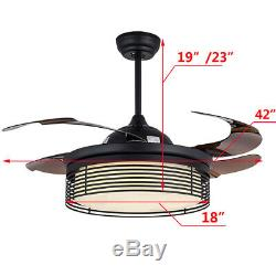 42Ceiling Fan 4 Blades LED Light 3 Speed Change and 3 Color changing WithRemote