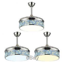 42'' 3 Model Retractable Chandelier Ceiling Fan LED Light 3 Color/Speed Change