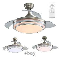 42 Ceiling Fan Light Retractable Blade Adjustable Wind Speed Remote Control LED
