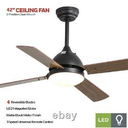 42 Inch Timed Ceiling Fan LED Lights Wooden 4 Blades 3 Speed with Remote Control