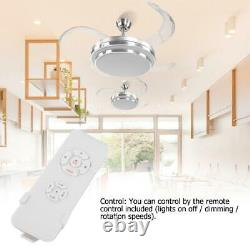 42'' LED Ceiling Fan 4 Retractable Blade Remote Control 3-Color Changing Lights