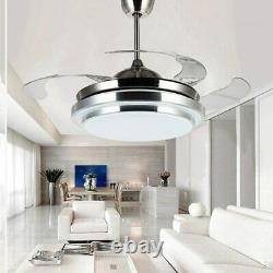 42 LED Dimming Ceiling Fan with Color Changing Lights Remote Control 4 Blades 65W