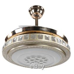 42 Luxury Ceiling Fan LED Light Chandelier Lighting 4 Blades 3-Color Changing