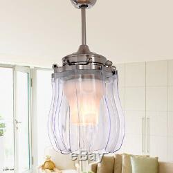 42 Modern Retractable Ceiling Fan with Light LED Dimmable Chandelier Fan Remote