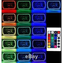 4X6 Color Change RGB SMD LED Halo Angel Eye Headlight 6000K HID Light Bulb Pair