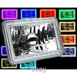 4X6 IR Color Change RGB SMD Halo Angel Eye Headlight 24W 6K LED Light Bulb Pair