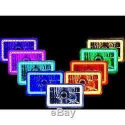 4X6 IR Color Change RGB SMD Halo Angel Eye Headlight 24W 6K LED Light Bulb Set