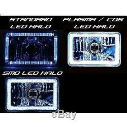 4X6 RGB LED COB Color Change Halo Crystal Headlight Light Bulb Headlamp Pair