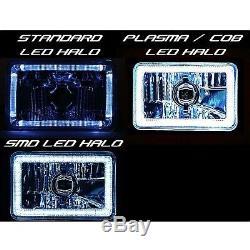 4X6 RGB LED COB Color Change Halo Crystal Headlight Light Bulb Headlamp Set