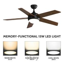 52'' Dimmable Wooden Blades Ceiling Fan Light 3 Speed Timer LED Lamp with Remote
