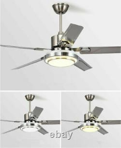 52 Remote Control Ceiling Fans Chandelier with LED Light 5 Stainless Steel Blades