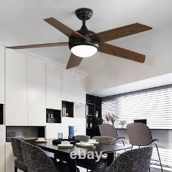 52 Vintage 5-Wood Blades Ceiling Fan with 3 Colors Light Remote Control/3 Speed
