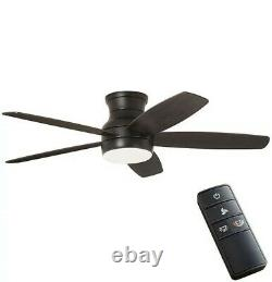52-inch Color Changing LED Matte Black Ceiling Fan with Light and Remote Control