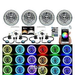 5-3/4 Bluetooth Cell Phone SMD Color Change Halo Angel Eye LED 6k Headlights Set