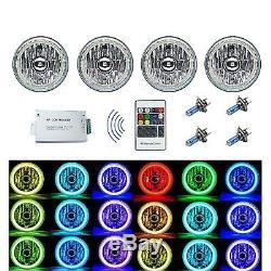 5-3/4 RF RGB COB Color Change White Red Blue Green LED Halo Angel Eye Headlights