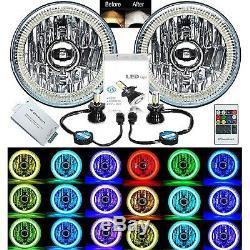 5-3/4 RF RGB COB Multi-Color Change Halo Angel Eye Shift H4 LED Headlights Pair