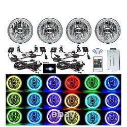5-3/4 RF RGB SMD LED Color Change Halo Shift Angel Eye 6000K HID Headlights Set