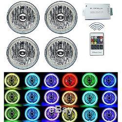 5-3/4 RF RGB SMD Multi-Color Change Halo Angel Eye Shift H4 LED Headlights Set