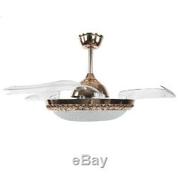 65W Ceiling Fan Chandelier LED Light 3 Color Changing 4 Blades + Remote Control
