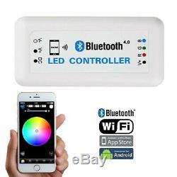 7 Bluetooth Phone RGB SMD Color Change Halo Angel Eye H4 6k LED Headlight Pair