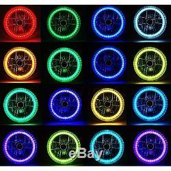 7 Bluetooth Phone RGB SMD LED Color Change Halo Angel Eye 6K HID Headlight Pair