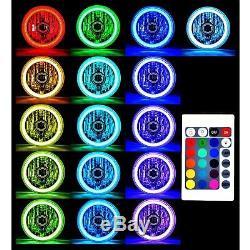 7 RGB COB LED Multi-Color White Red Blue Green Halo Angel Eye Headlights Pair