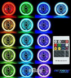 7 RGB SMD LED Multi-Color Halo Angel Eye Headlight Pair For 76-17 Jeep Wrangler