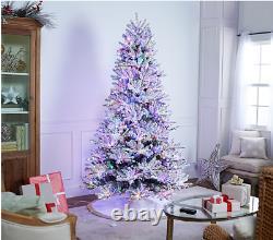 8ft Santas Best Snowflock Majestic Christmas Tree Colour Change Led Lights R/c