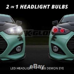 9004 Dual Function LED Headlight Bulbs + Color Changing Demon Eye Smartphone App