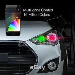 9007 2in1 LED Headlight Bulbs Color Changing Devil Eye for Projector + Reflector