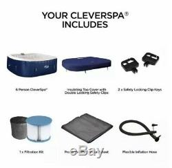 Cleverspa Belize 6 Person With LED Lightshow Hot Tub, NEW. Lazy Spa Lay Z Spa