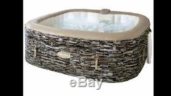 Cleverspa Sorrento Hot Tub Square 6+ person with LED lights -marble slate print
