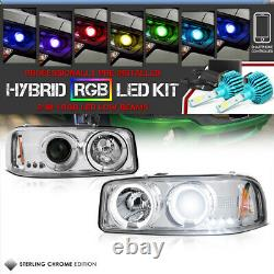 Color Changing LED Low Beam Pair Left+Right GMC Sierra Pickup Halo Headlights