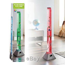 Colour Changing Led Sensory Mood Bubble 5 Fish Water Tower Tube Floor Lamp Light