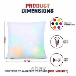 Colour Changing Mood Pillow LED Glow Dark Light Up Cosy Relax Fur Cushion Soft