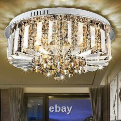 Contemporary Crystal Glass LED 3 Colors Changed Round Ceiling Lights Flush Mount