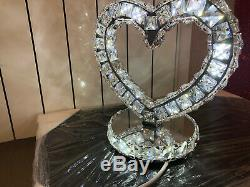 Crystal table lamp Love shape Colour changes valentines gift