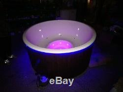 DELUXE FIBREGLASS WOODEN HOT TUB AIR BUBBLES +LED WOOD FIRED. RRP £3599! Display