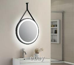 Delilah orca round led bathroom mirror hook and loop hanging colour change, demi