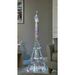 Eiffel Tower Crystal Sparkly Diamante Silver Floor standing LED Lamp 146cm Home